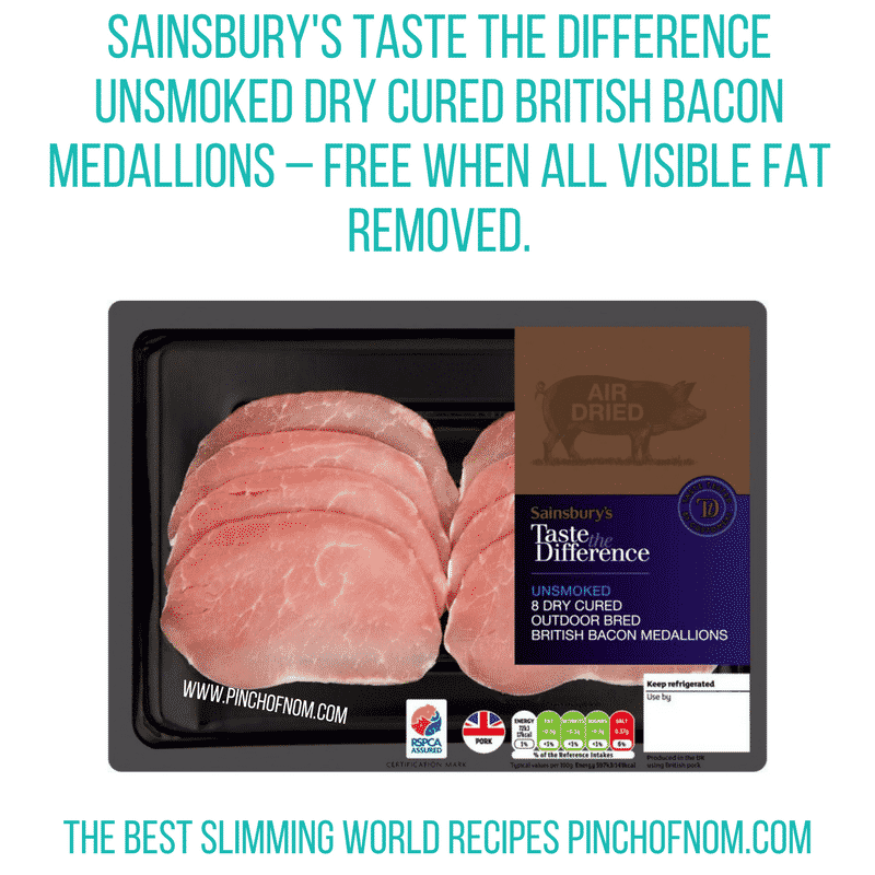 Sainsbury's Taste the diff bacon - Pinch of Nom Slimming World Shopping Essentials