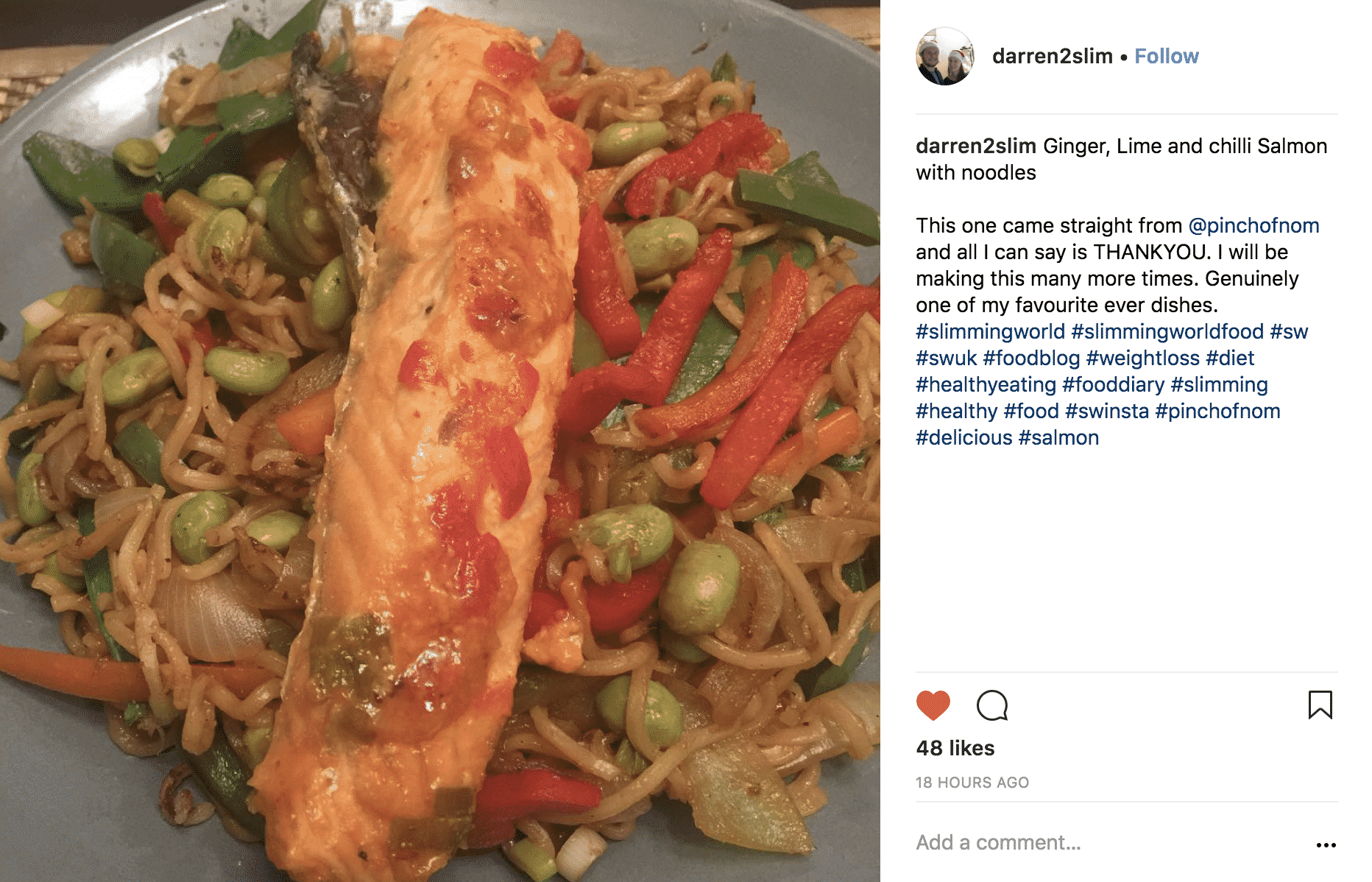 Ginger, Lime and Chilli Salmon Noodles - Pinch Of Nom
