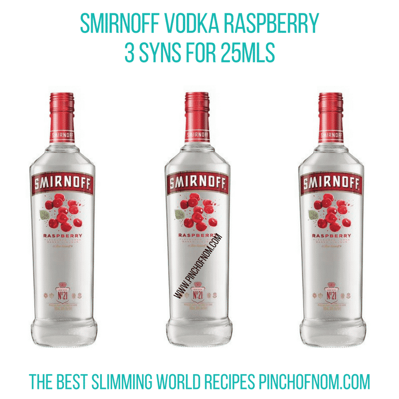 Smirnoff Raspberry Vodka - Pinch of Nom Slimming World Shopping Essentials