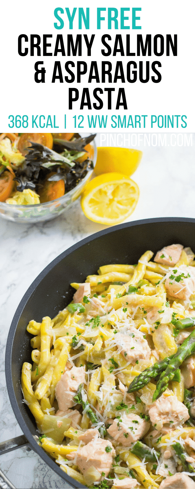 Syn Free Creamy Salmon Pasta | Syn free Slimming World | 16 Weight Watchers Smart Points | 368Kcal | pinchofnom.com