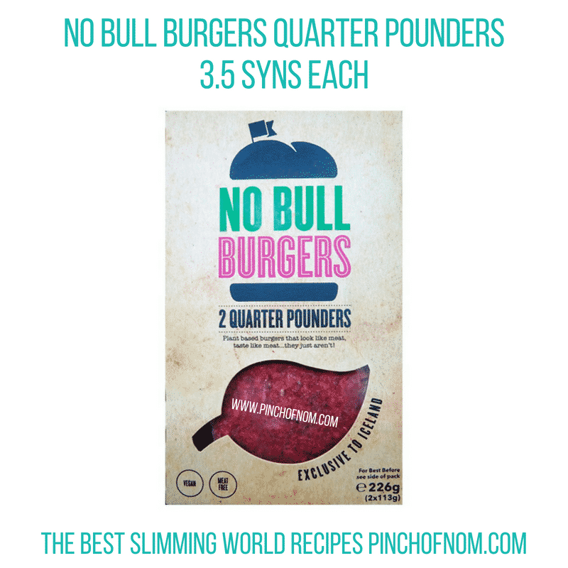 No Bull burgers - Pinch of Nom Slimming World Shopping Essentials