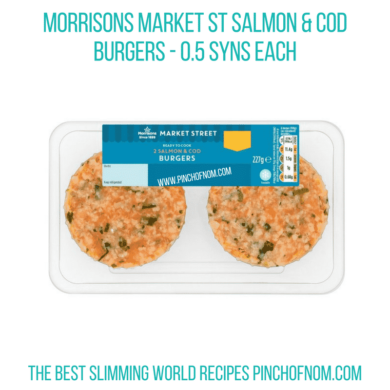 Morrisons Salmon & Cod burgers - Pinch of Nom Slimming World Shopping Essentials