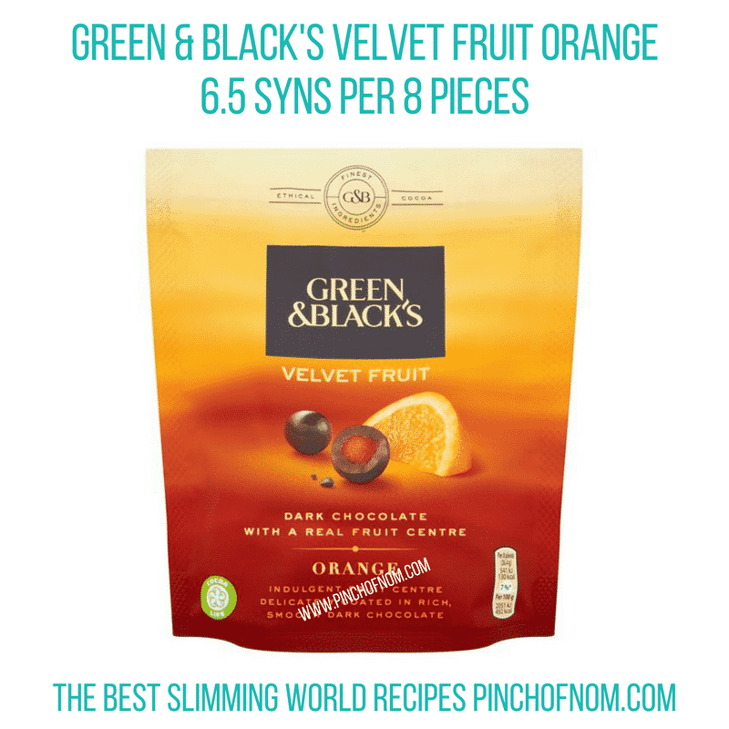 Green & Black's Velvet fruit orange - Pinch of Nom Slimming World Shopping Essentials