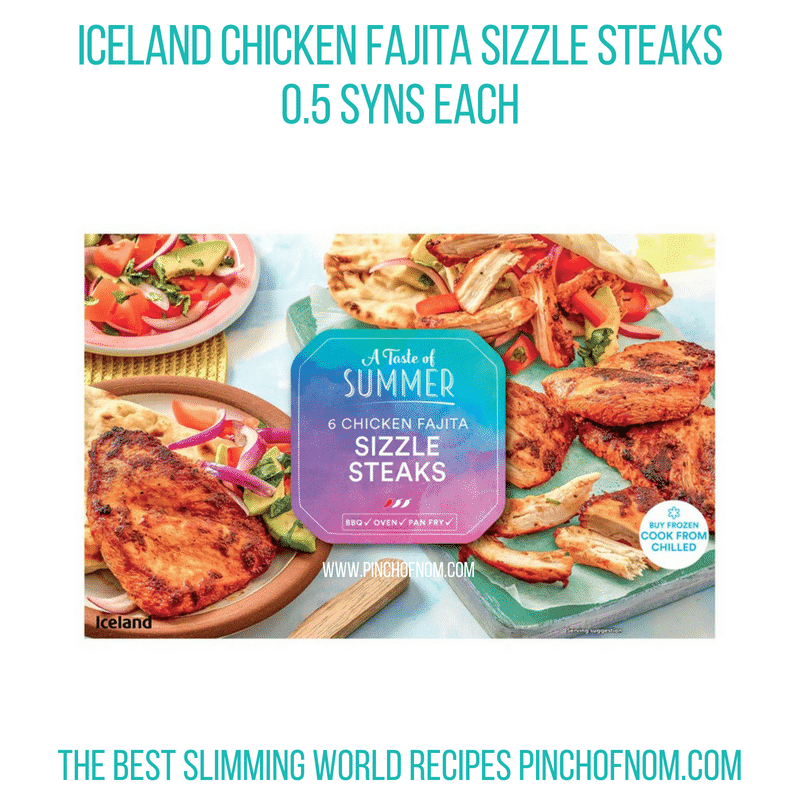 Iceland Chicken Fajita Sizzle steaks - Pinch of Nom Slimming World Shopping Essentials