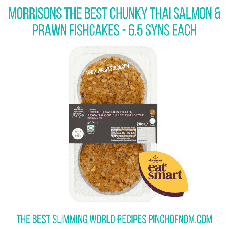 Morrisons Thai Salmon & Prawn Fishcakes - Pinch of Nom Slimming World Shopping Essentials