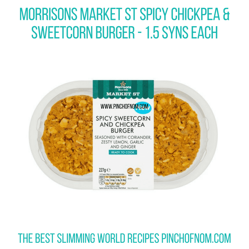 Morrisons Spicy Chickpea & Sweetcorn burger - Pinch of Nom Slimming World Shopping Essentials
