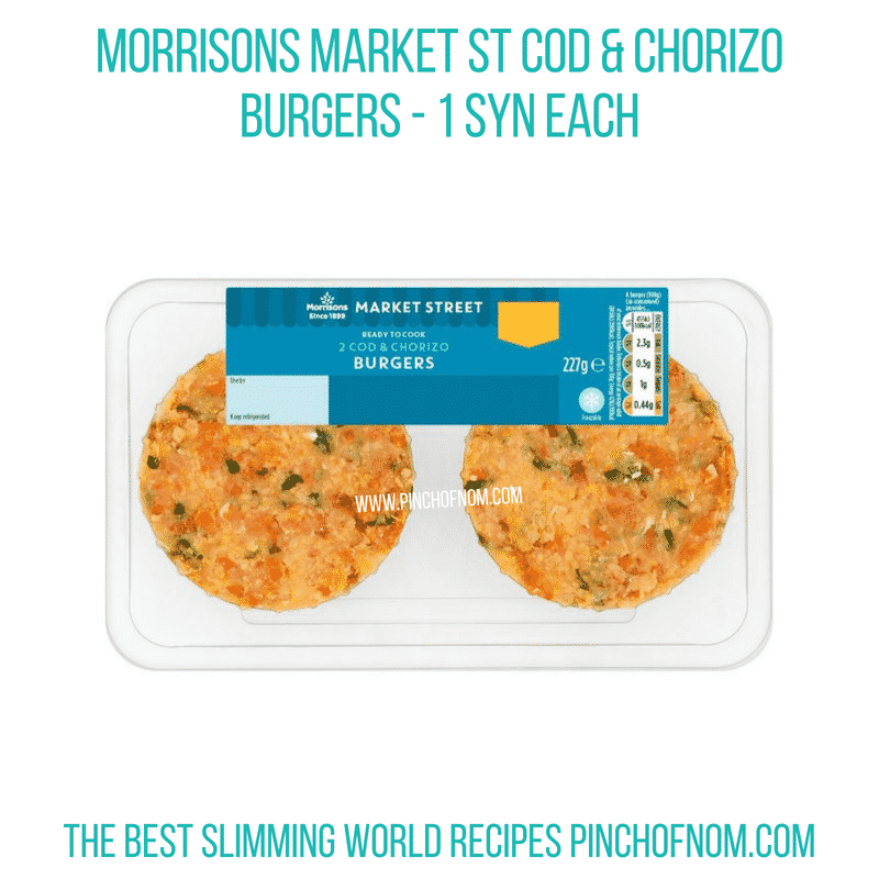 Morrisons cod & chorizo burgers - Pinch of Nom Slimming World Shopping Essentials