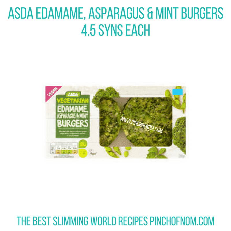Asda Edamame asparagus mint burger - Pinch of Nom Slimming World Shopping Essentials