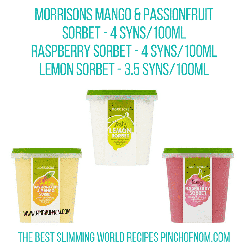 Morrisons sorbet - Pinch of Nom Slimming World Shopping Essentials