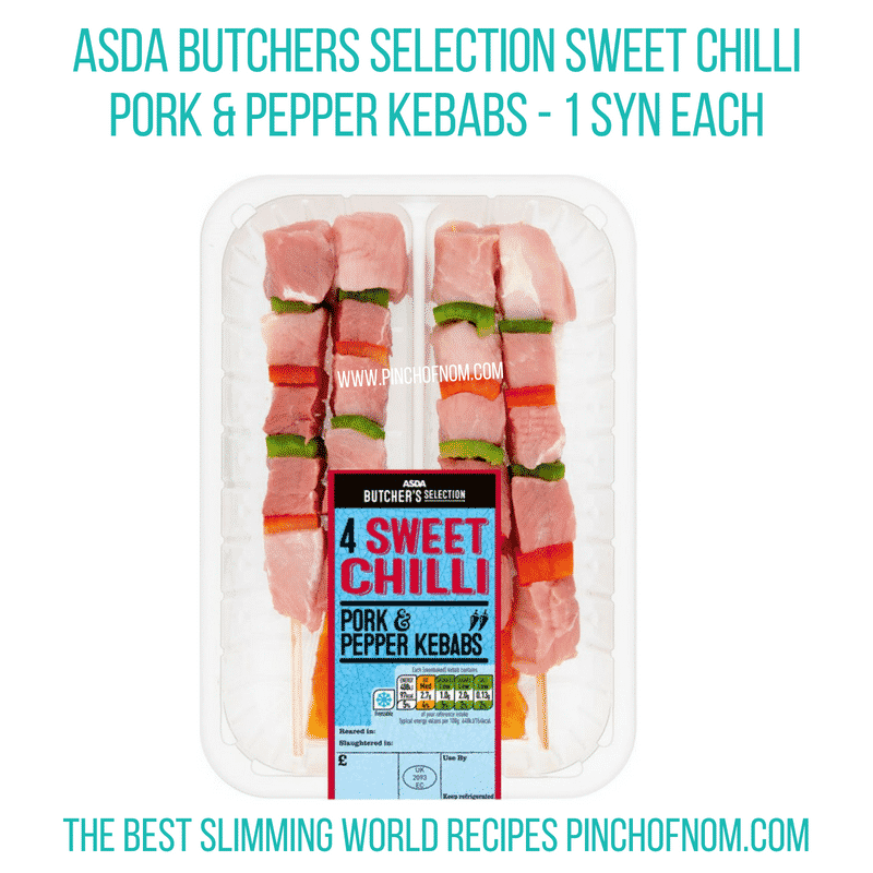Asda pork pepper kebabs - Pinch of Nom Slimming World Shopping Essentials