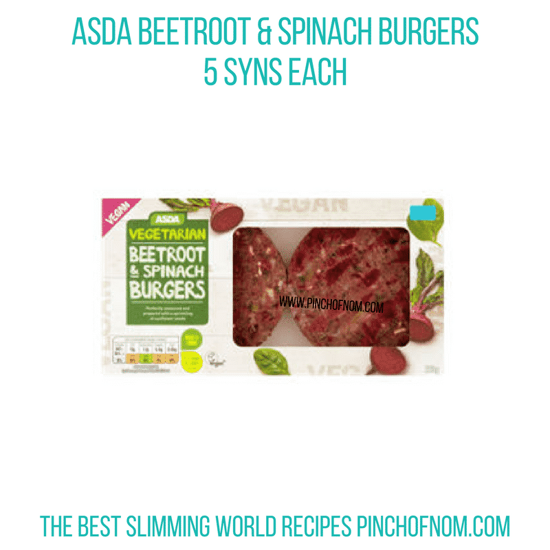 Asda Beetroot & Spinach burgers - Pinch of Nom Slimming World Shopping Essentials