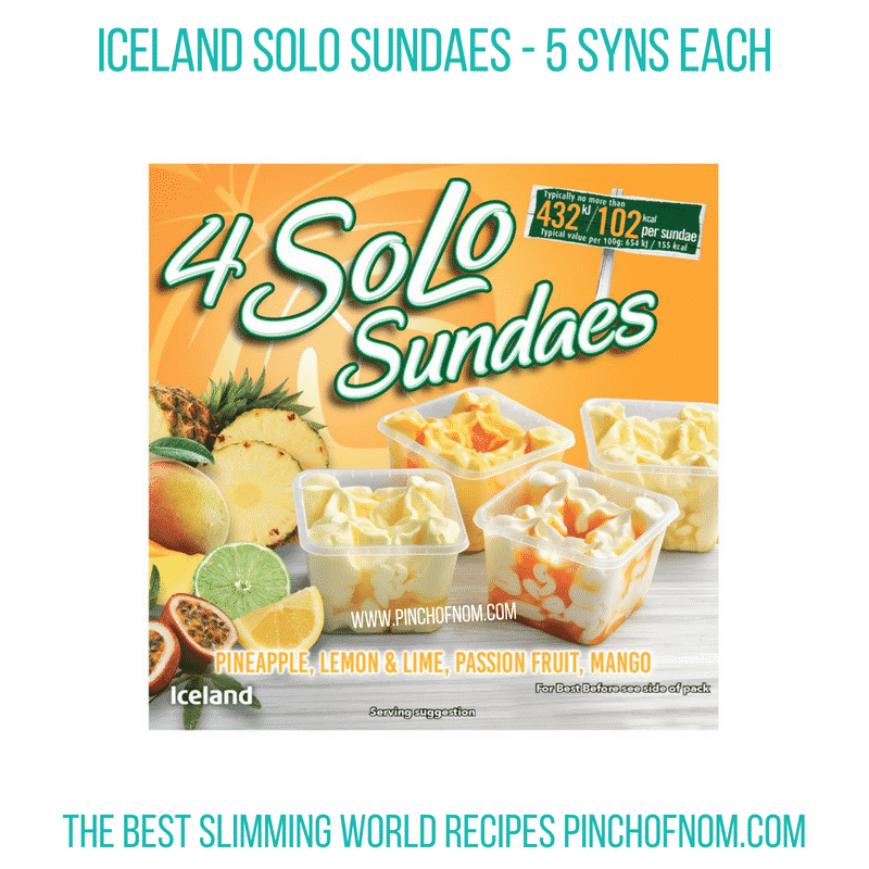 Iceland Solo Sundaes tropical - Pinch of Nom Slimming World Shopping Essentials