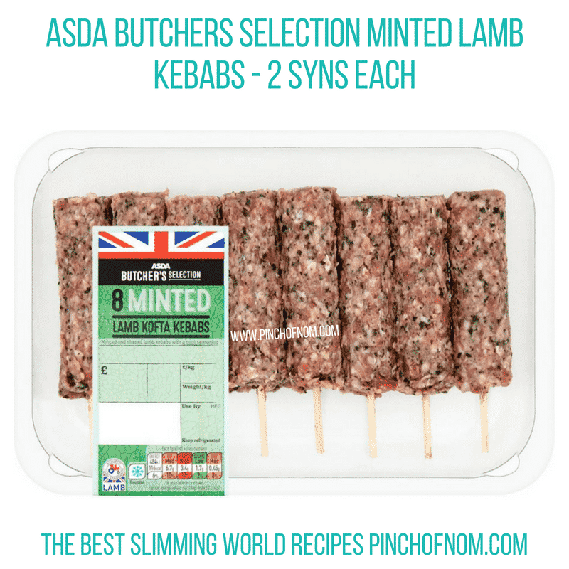 Asda minted lamb kebabs - Pinch of Nom Slimming World Shopping Essentials