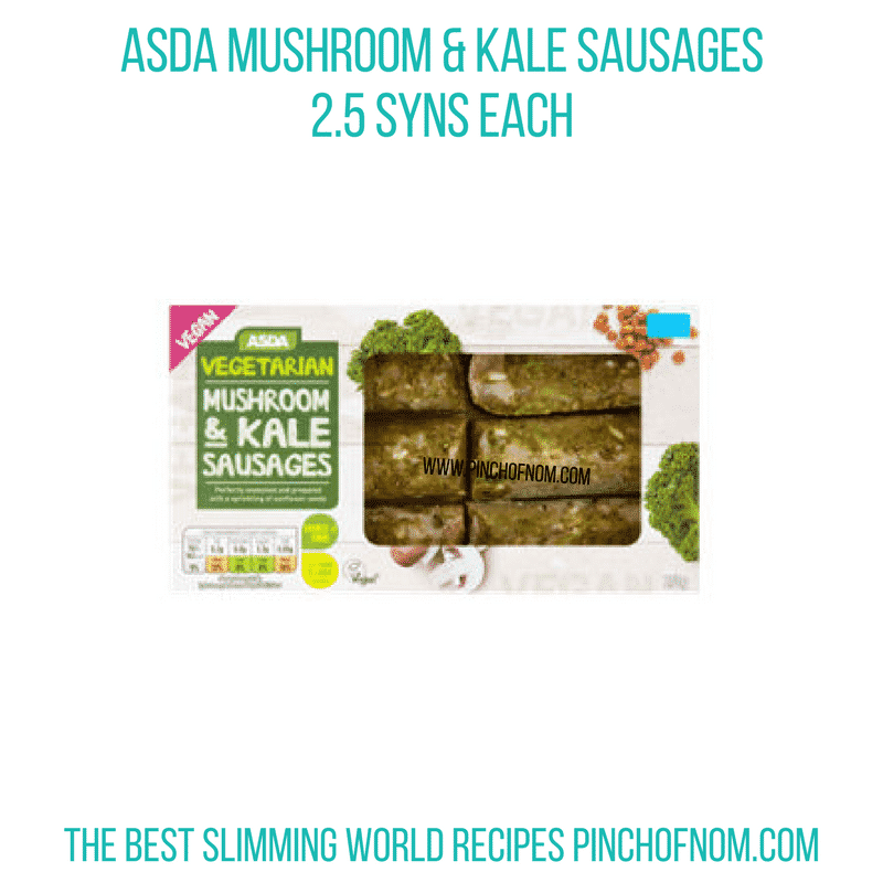 Asda Mushroom Kale sausages - Pinch of Nom Slimming World Shopping Essentials