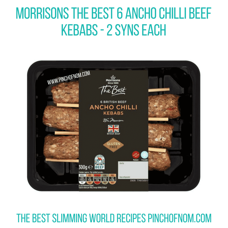 Morrisons Ancho Chilli kebabs - Pinch of Nom Slimming World Shopping Essentials