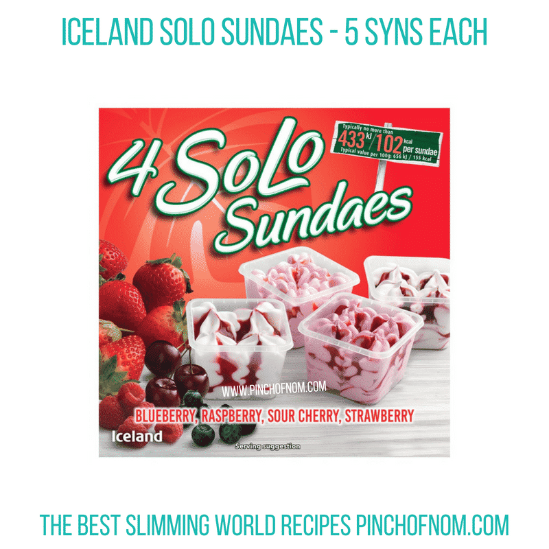 Iceland Solo Sundaes - Pinch of Nom Slimming World Shopping Essentials