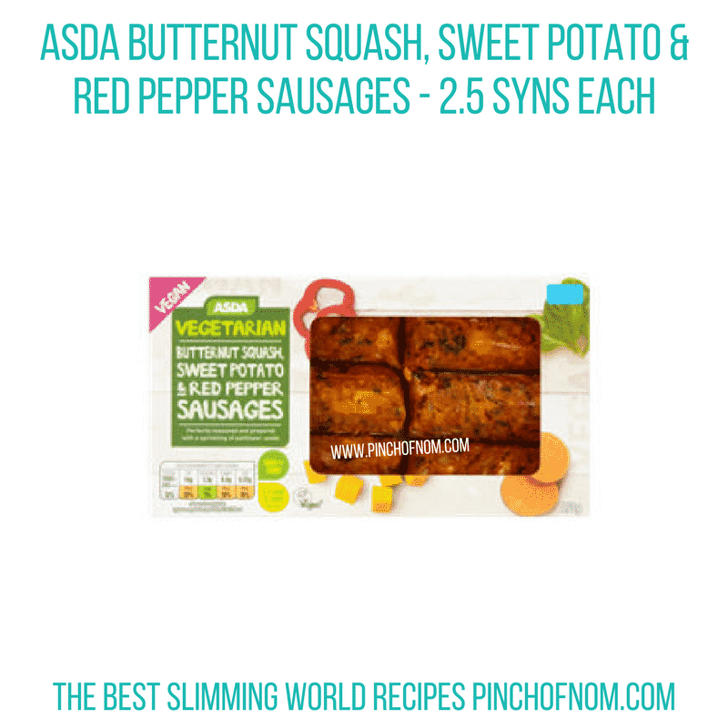 Butternut squash, Sweet potato & red pepper sausages - Pinch of Nom Slimming World Shopping Essentials