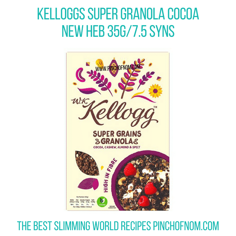 Kelloggs granola cocoa - Pinch of Nom Slimming World Shopping Essentials