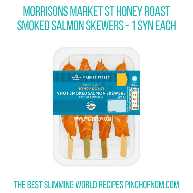 Morrisons Honey Roast salmon skewers - Pinch of Nom Slimming World Shopping Essentials