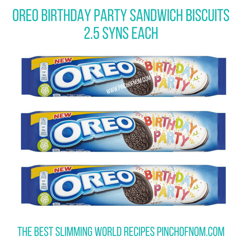 Oreo Birthday Party biscuits - Pinch of Nom Slimming World Shopping Essentials