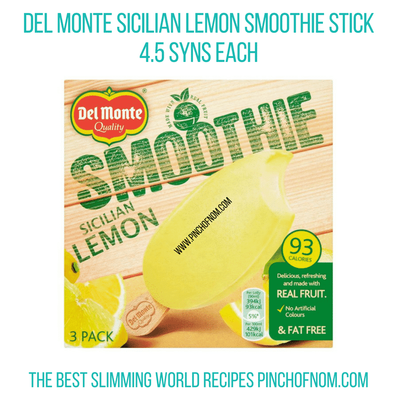 Del Monte Sicilian Lemon Smoothie sticks - Pinch of Nom Slimming World Shopping Essentials