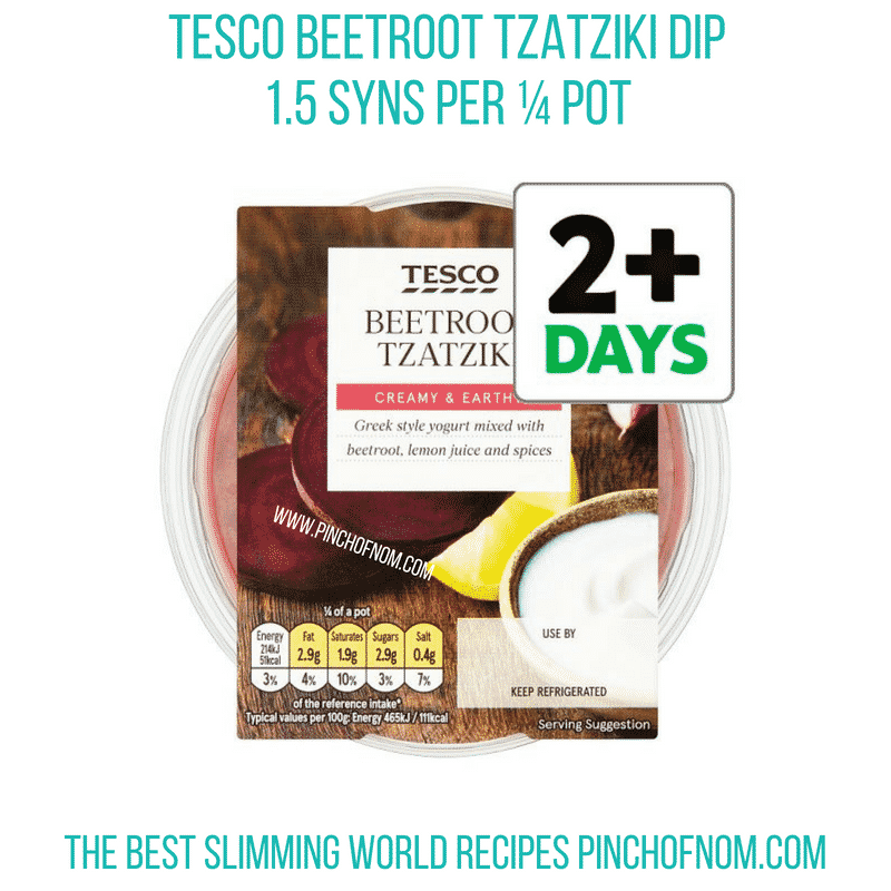 Tesco Beetroot Tzatziki - Pinch of Nom Slimming World Shopping Essentials