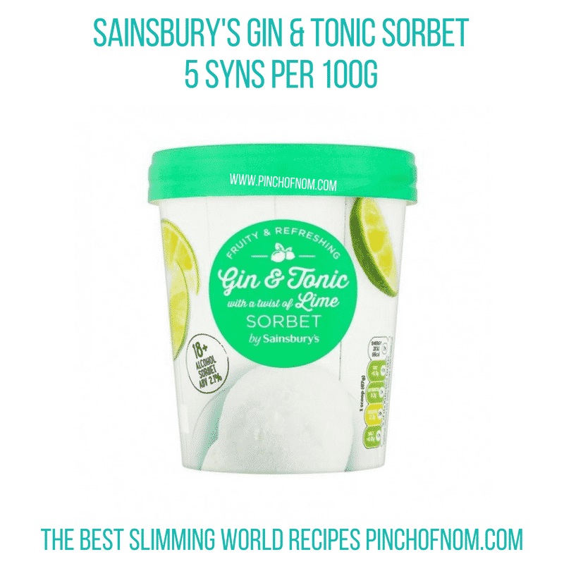 Sainsbury's Gin & Tonic sorbet - Pinch of Nom Slimming World Shopping Essentials