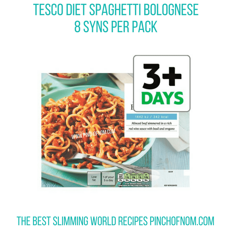 Tesco Diet Spag Bol - Pinch of Nom Slimming World Shopping Essentials