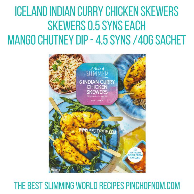 Iceland Indian Curry Chicken Skewers - Pinch of Nom Slimming World Shopping Essentials