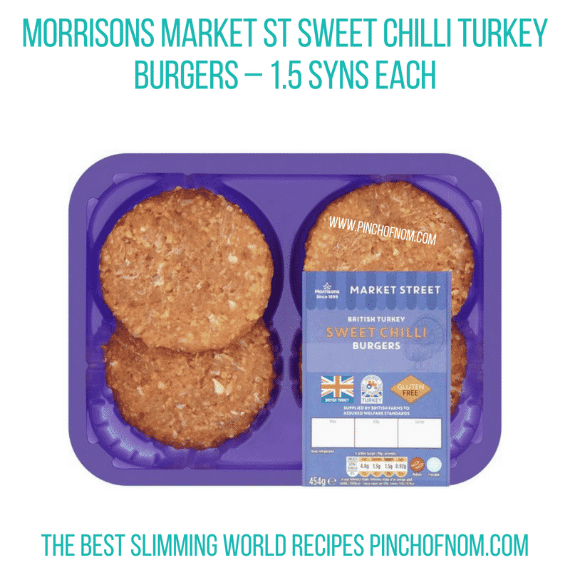 Morrisons Sweet Chilli Turkey Burgers - Pinch of Nom Slimming World Shopping Essentials