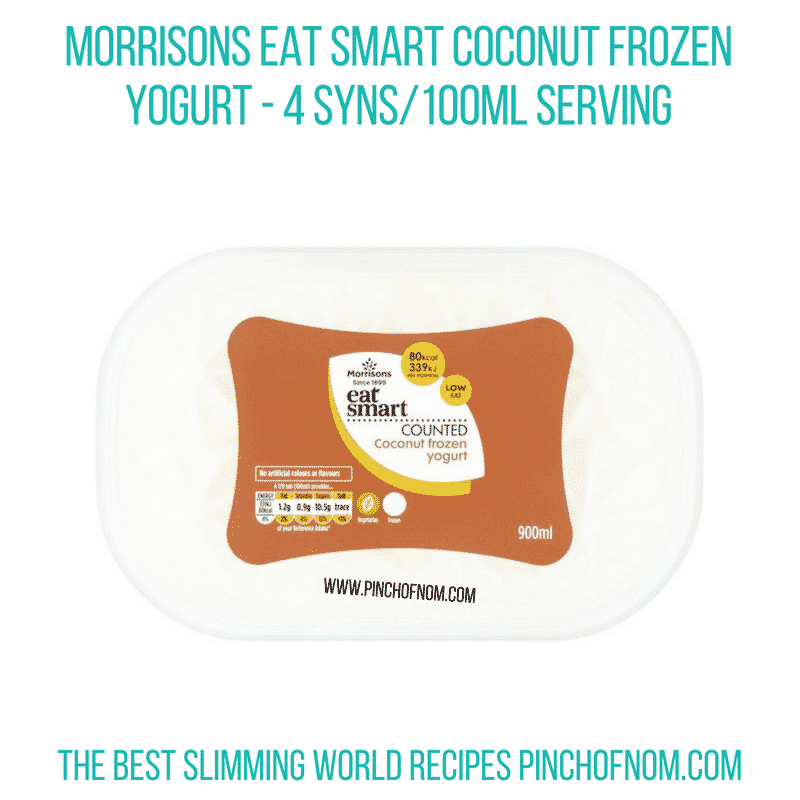 Morrisons Eat Smart Coconut Frozen Yogurt - Pinch of Nom Slimming World Shopping Essentials