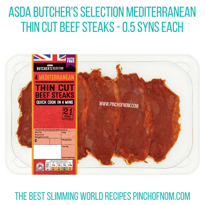Asda Mediterranean Beef Steaks - Pinch of Nom Slimming World Shopping Essentials