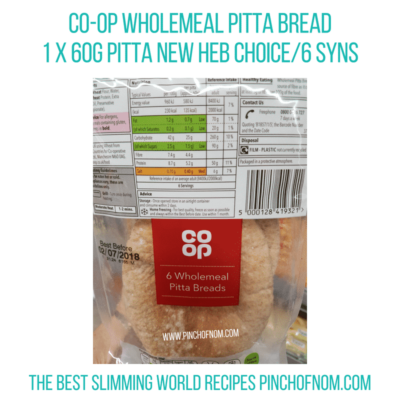 Co-op wholemeal pitta - Pinch of Nom Slimming World Shopping Essentials