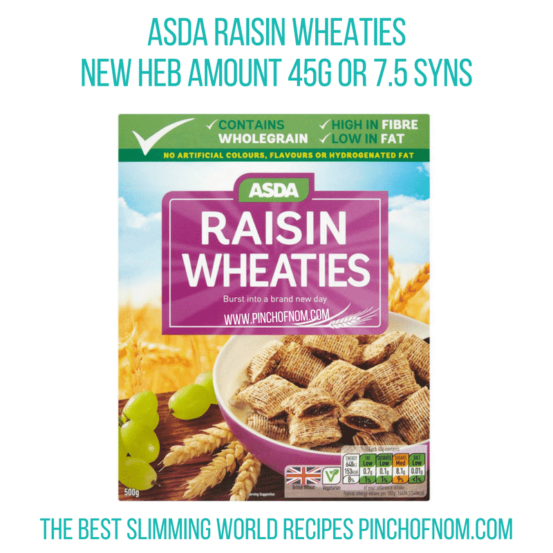 Asda raisin wheaties - Pinch of Nom Slimming World Shopping Essentials