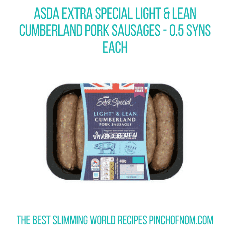 Asda Light & Lean Cumberland Sausages Pinch of Nom Slimming World Shopping Essentials