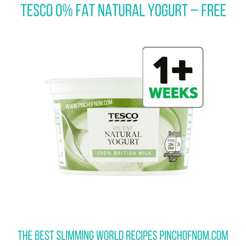 Tesco 0% natural yogurt - Pinch of Nom Slimming World Shopping Essentials