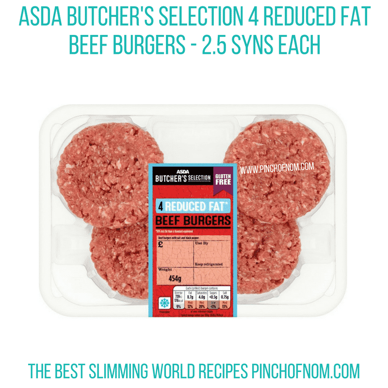 Asda reduced fat beef burgers - Pinch of Nom Slimming World Shopping Essentials