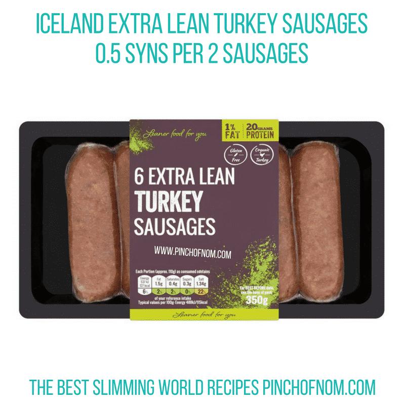 Iceland Extra Lean Turkey Sausages - Pinch of Nom Slimming World Shopping Essentials