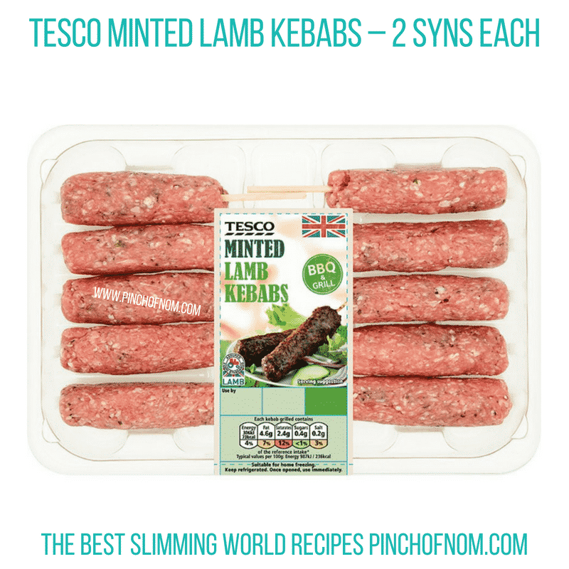 Tesco Minted Lamb Kebabs - Pinch of Nom Slimming World Shopping Essentials
