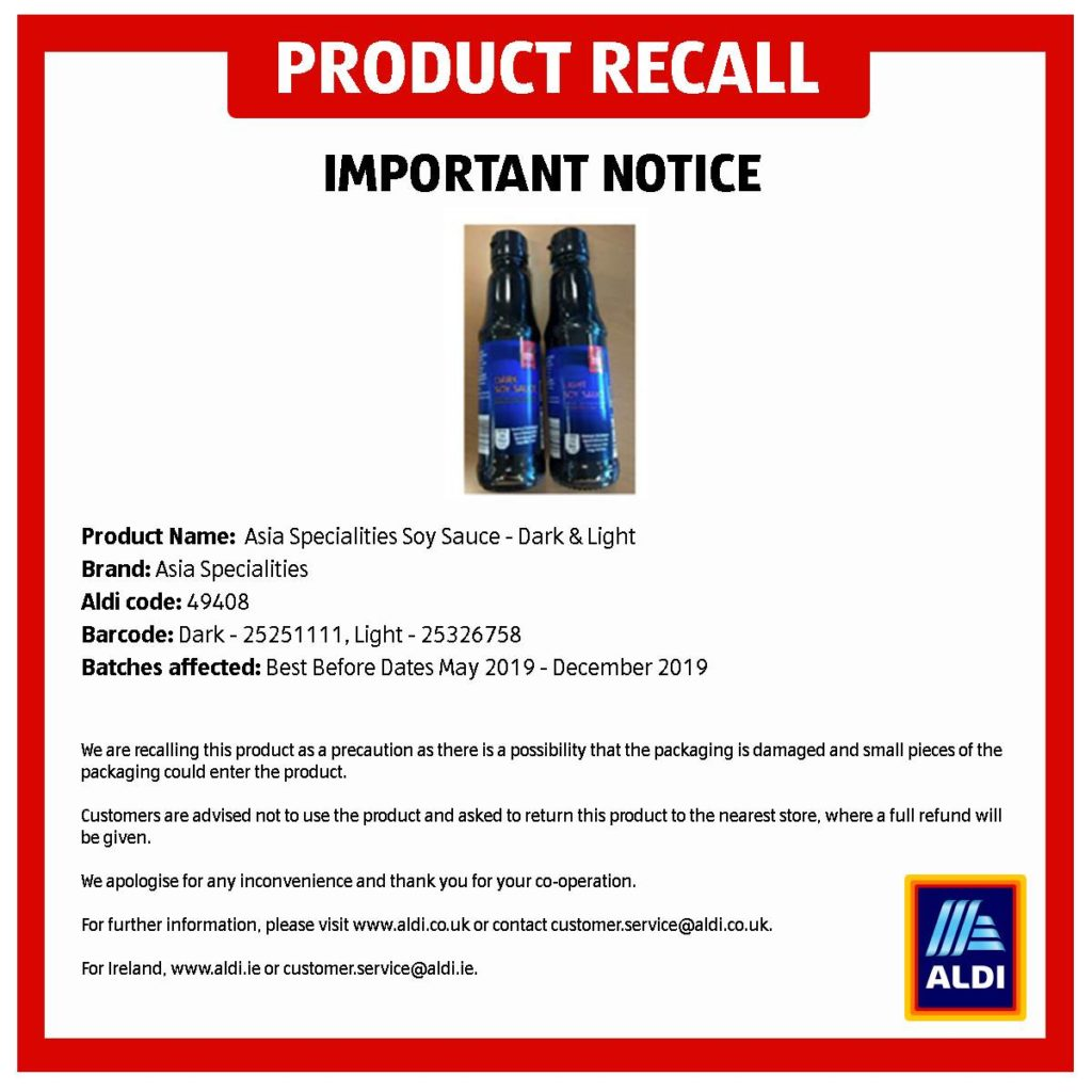 Aldi Soy Sauce Product Recall | Slimming World