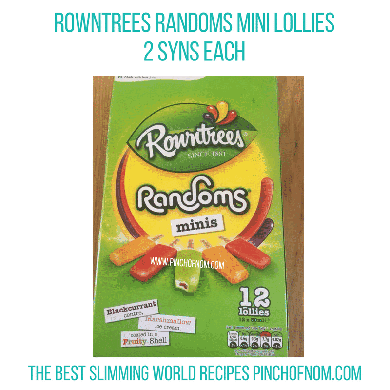 Rowntrees Randoms minis lollies - Pinch of Nom Slimming World Shopping Essentials