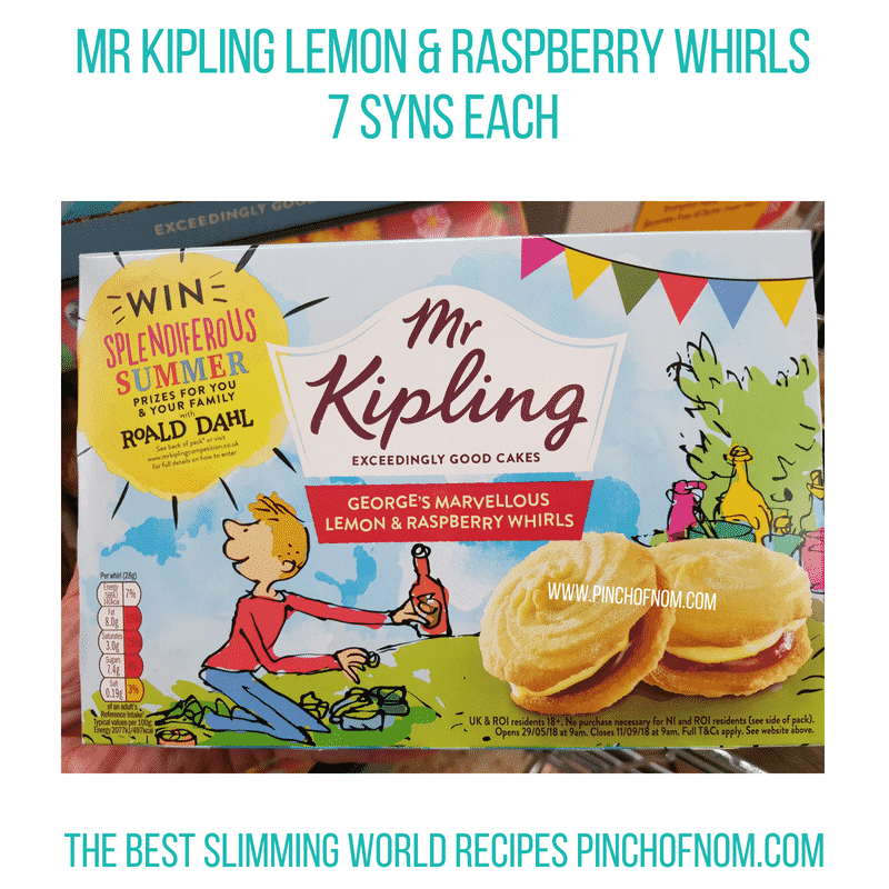 Mr Kipling Lemon Raspberry whirl - Pinch of Nom Slimming World Shopping Essentials