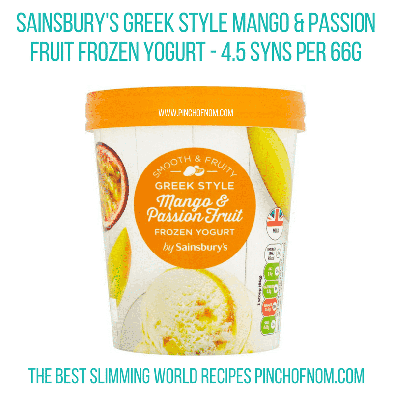 Sainsbury's Greek Style Mango frozen yog - Pinch of Nom Slimming World Shopping Essentials
