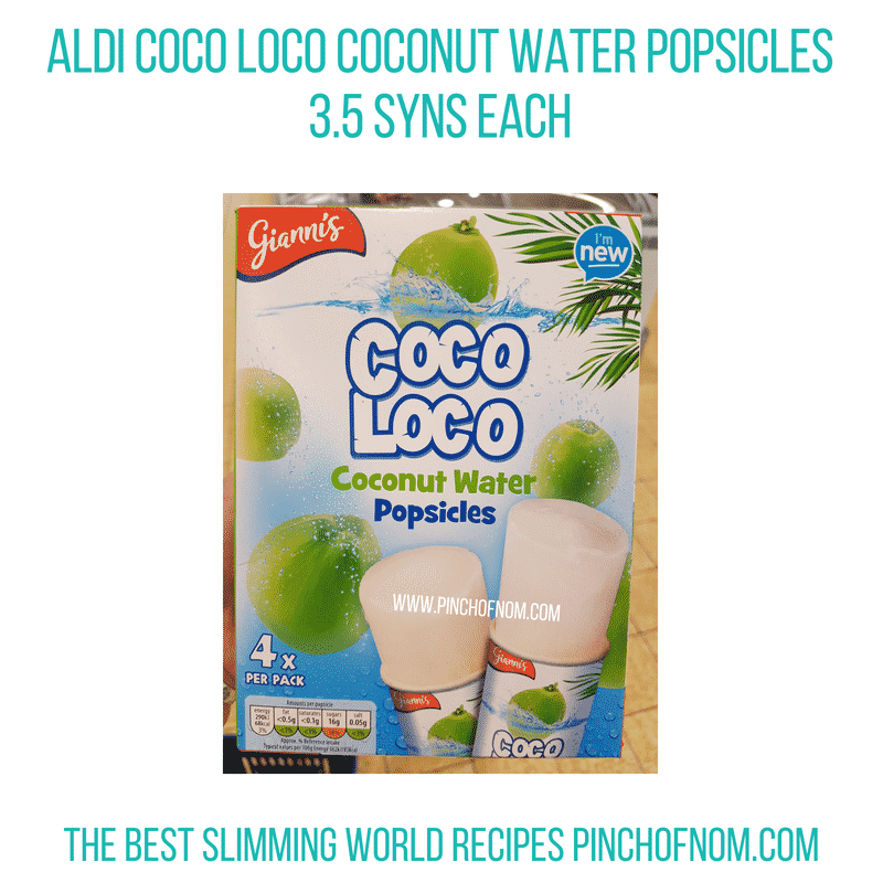 Aldi Coconut water popsicles - Pinch of Nom Slimming World Shopping Essentials