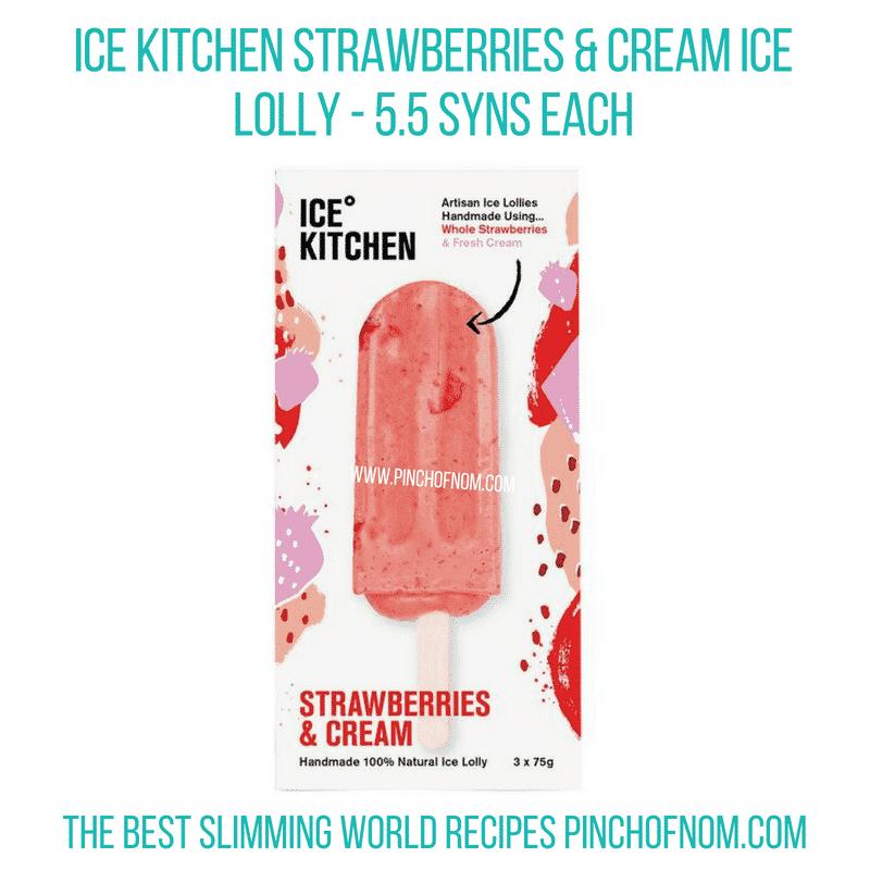 Ice Kitchen Strawberries & Cream lolly - Pinch of Nom Slimming World Shopping Essentials