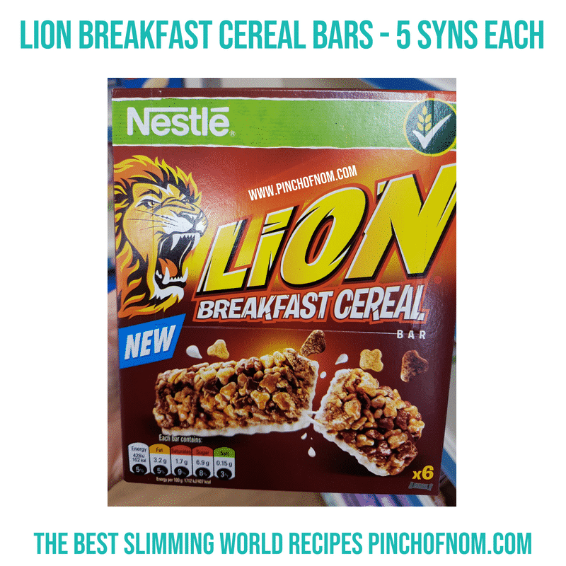 Lion Breakfast cereal bar - Pinch of Nom Slimming World Shopping Essentials