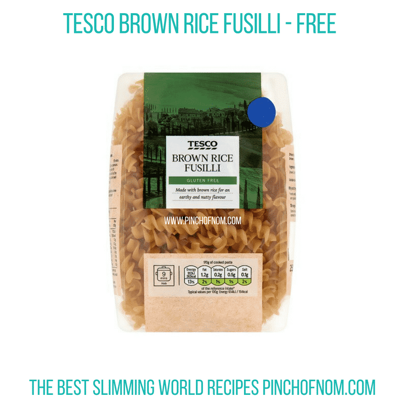 Tesco Brown Rice Fusilli - Pinch of Nom Slimming World Shopping Essentials