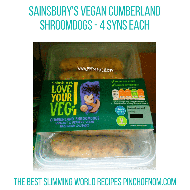 Sainsbury's Vegan Shroomdogs - Pinch of Nom Slimming World Shopping Essentials