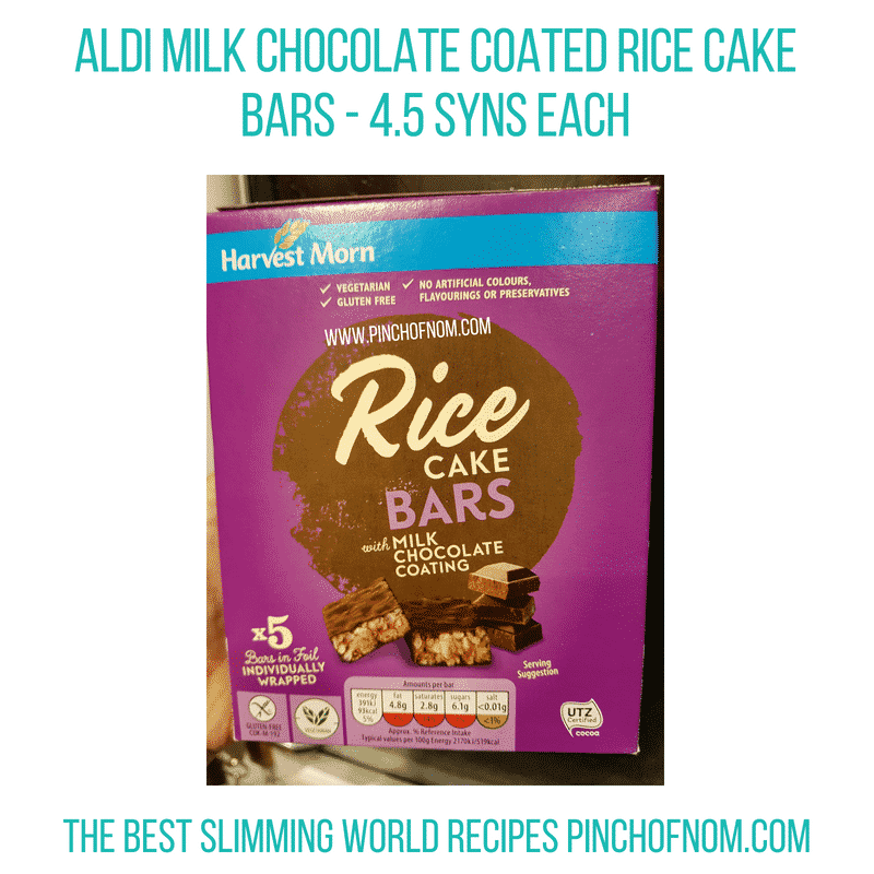 Aldi choc Rice Cake bars - Pinch of Nom Slimming World Shopping Essentials