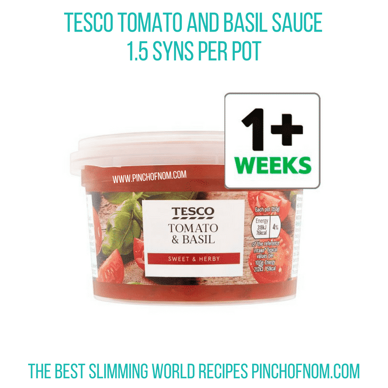 Tesco Tomato & Basil Sauce - Pinch of Nom Slimming World Shopping Essentials